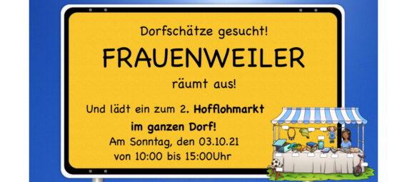 Veranstaltungsplakat zum Hofflohmarkt im ganzen Dorf.